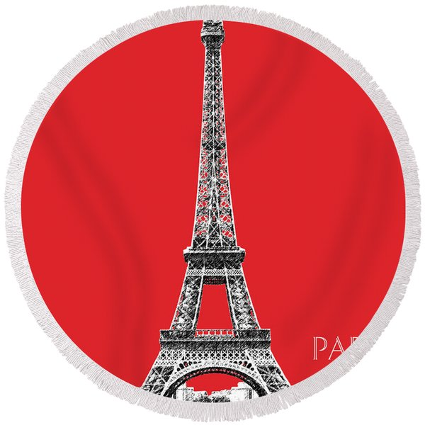 Paris Skyline Eiffel Tower - Red Round Beach Towel