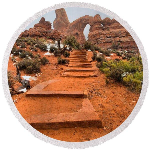 Pathway To Portals Round Beach Towel