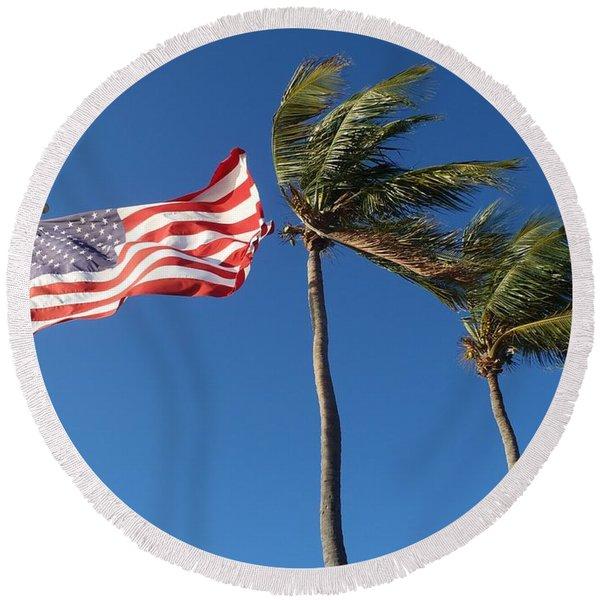 Patriot Keys Round Beach Towel
