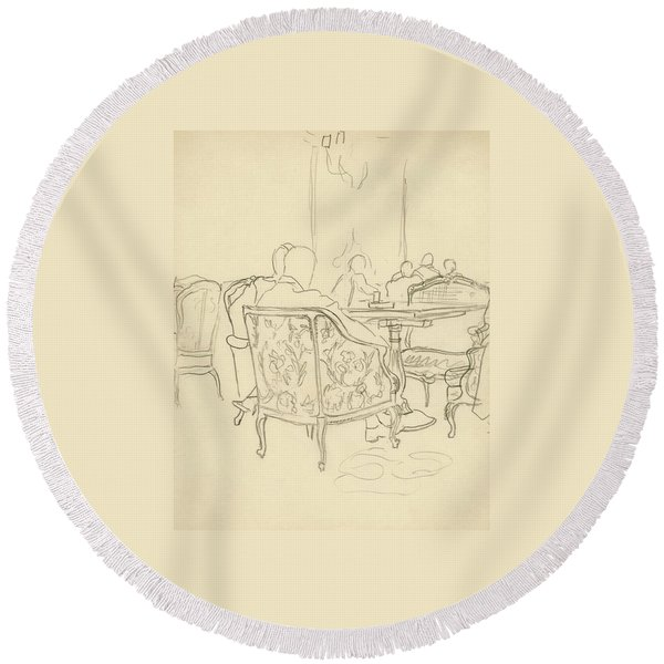 Patterned Chairs At A Restaurant Round Beach Towel