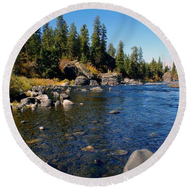 Peace On The Spokane River 2 Round Beach Towel