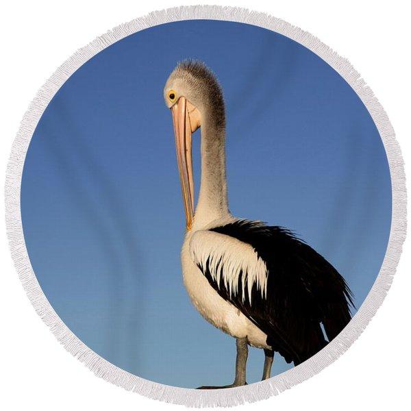 Pelican Alone Round Beach Towel