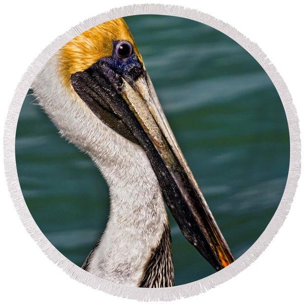 Pelican Profile No.40 Round Beach Towel