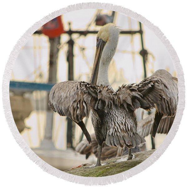 Pelican Strut Round Beach Towel