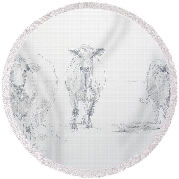 Pencil Drawing Of Three Cows Round Beach Towel