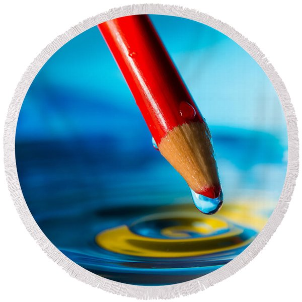 Pencil Water Drop Round Beach Towel