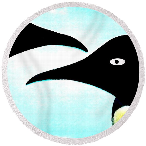 Round Beach Towel featuring the painting Penquin Love by Colette V Hera  Guggenheim
