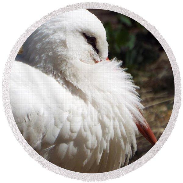 Pensive Stork Round Beach Towel