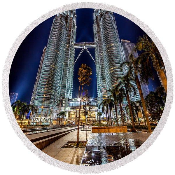 Petronas Twin Towers Round Beach Towel