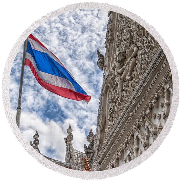 Phetchaburi Temple 40 Round Beach Towel