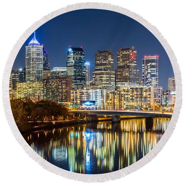 Philadelphia Cityscape Panorama By Night Round Beach Towel