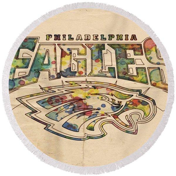Philadelphia Eagles Poster Art Round Beach Towel