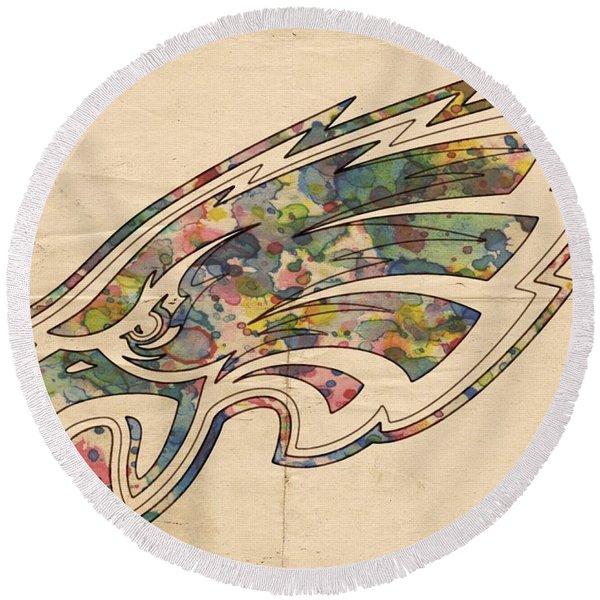 Philadelphia Eagles Poster Vintage Round Beach Towel