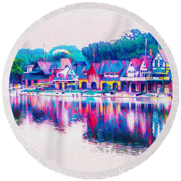 Round Beach Towel featuring the photograph Philadelphia's Boathouse Row On The Schuylkill River by Bill Cannon