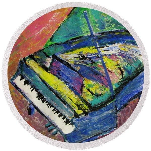 Piano Blue Round Beach Towel