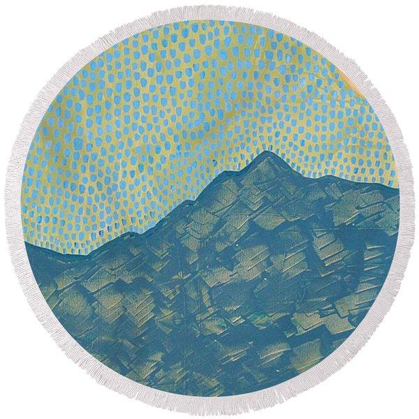 Picuris Mountains Original Painting Round Beach Towel