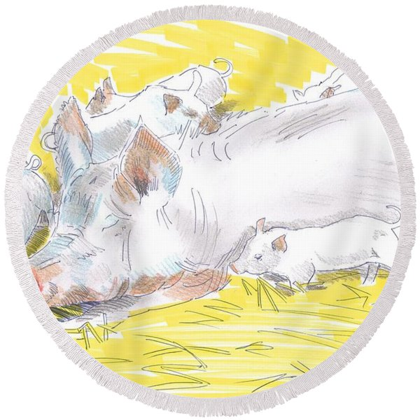 Pig Sow And Piglets Round Beach Towel