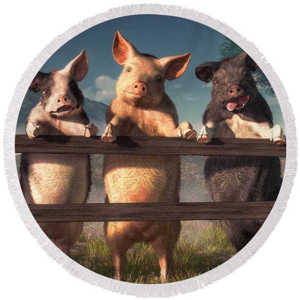 Pigs On A Fence Round Beach Towel