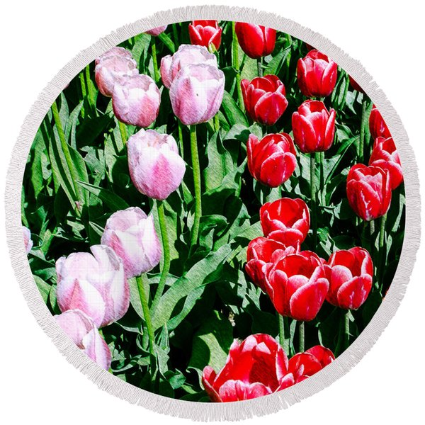 Pink And Red Tulips Round Beach Towel