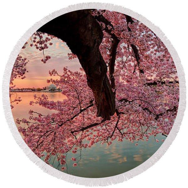 Pink Cherry Blossom Sunrise Round Beach Towel
