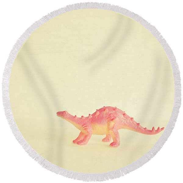Pink Dinosaur Round Beach Towel
