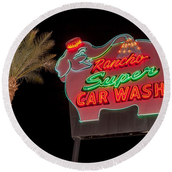 Pink Elephant Car Wash 36 X 24 Round Beach Towel