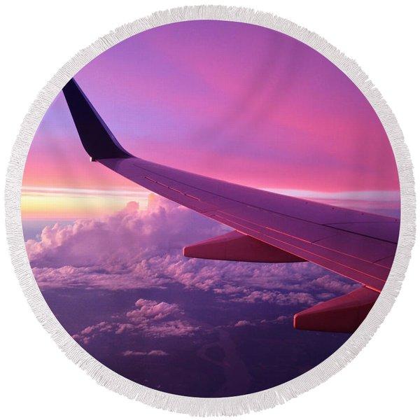 Pink Flight Round Beach Towel