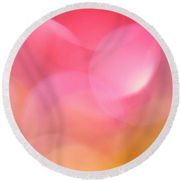 Pink Moon Round Beach Towel