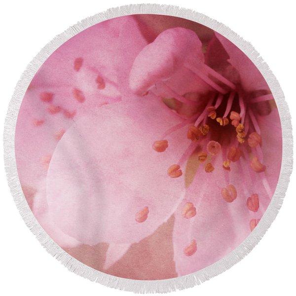Pink Spring Blossom Round Beach Towel