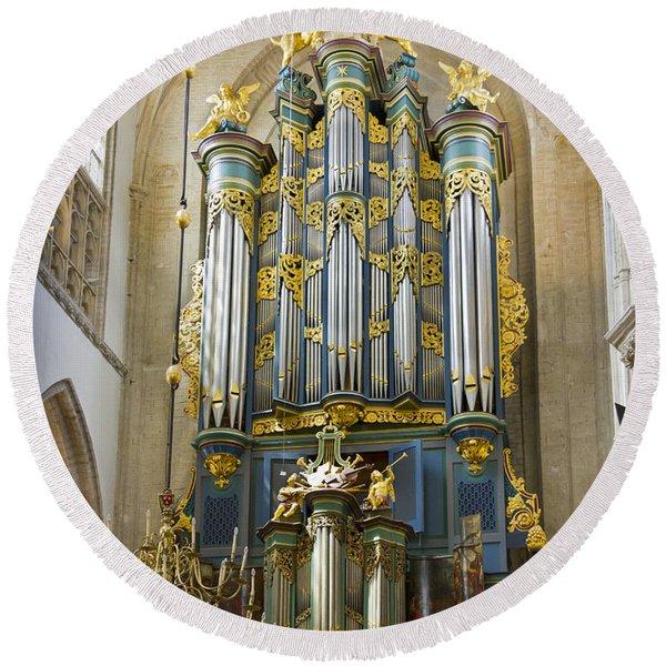 Pipe Organ In Breda Grote Kerk Round Beach Towel