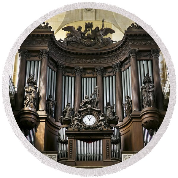 Pipe Organ In St Sulpice Round Beach Towel