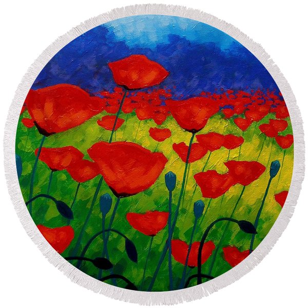 Poppy Corner II Round Beach Towel