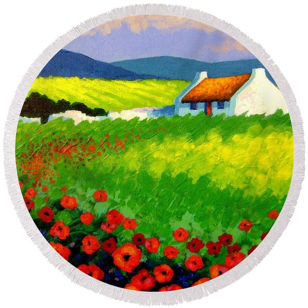 Poppy Field - Ireland Round Beach Towel
