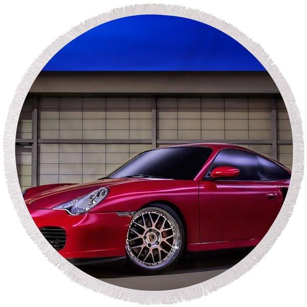 Porsche 911 Twin Turbo Round Beach Towel