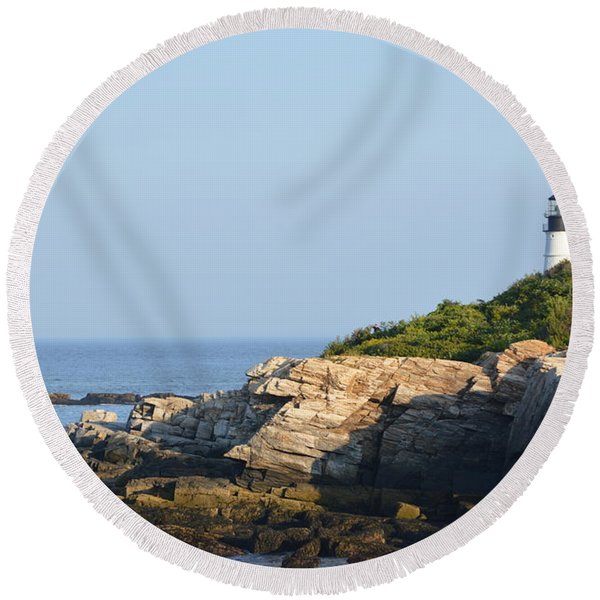 Portland Head Light In Summer Round Beach Towel