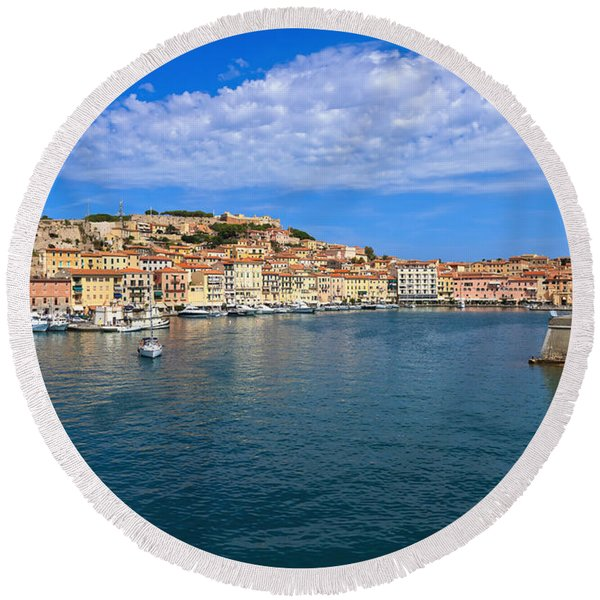 Portoferraio - View From The Sea Round Beach Towel