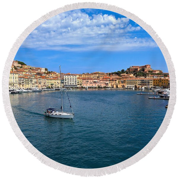 Portoferraio From The Sea Round Beach Towel