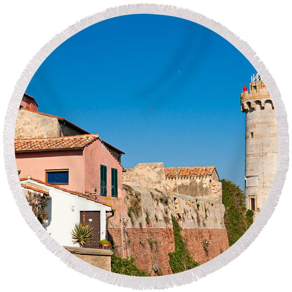 Portoferraio's Lighthouse - Elba Island Round Beach Towel