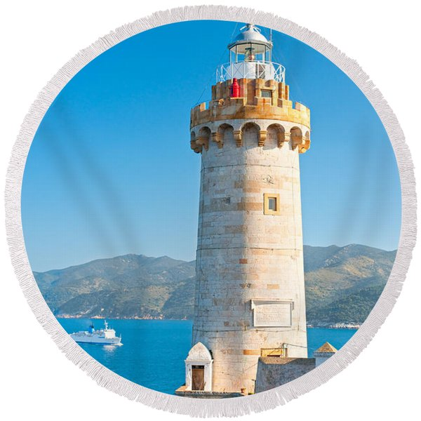 Portoferraio's Lighthouse - Isle Of Elba - Italy Round Beach Towel