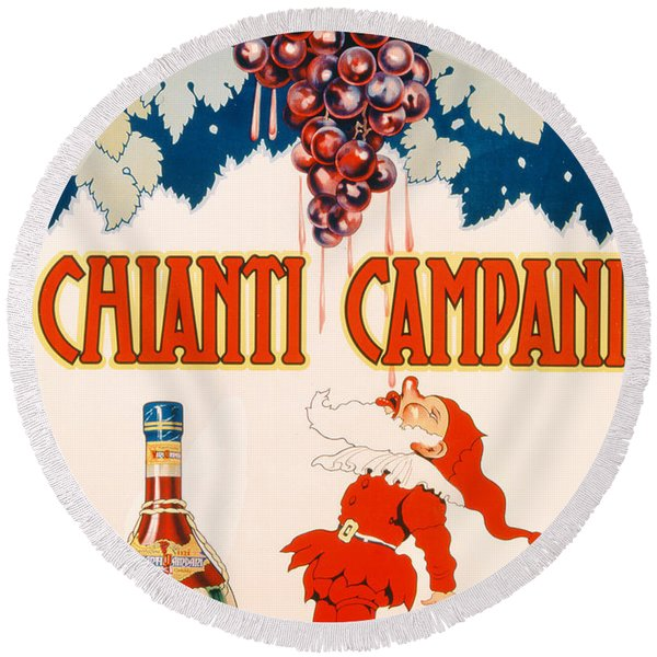 Poster Advertising Chianti Campani Round Beach Towel