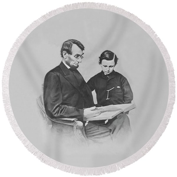 President Abraham Lincoln And His Son Round Beach Towel