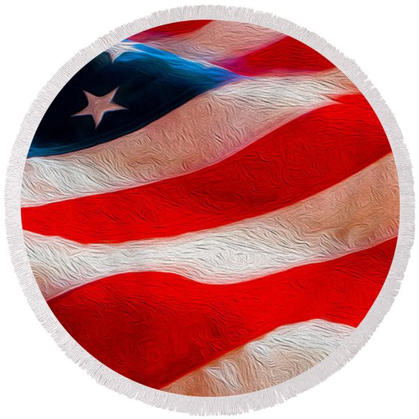 Proud To Be American Round Beach Towel