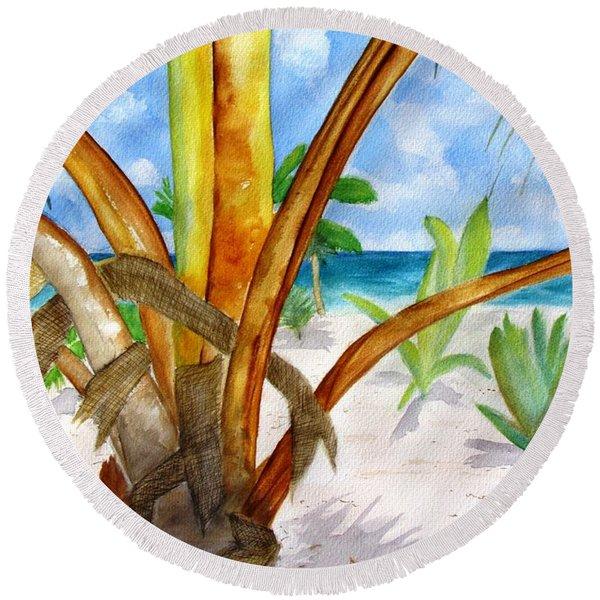 Punta Cana Beach Palm Round Beach Towel