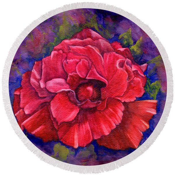 Round Beach Towel featuring the painting Purple Passion by Nancy Cupp