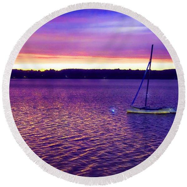 Purple Waters  Round Beach Towel