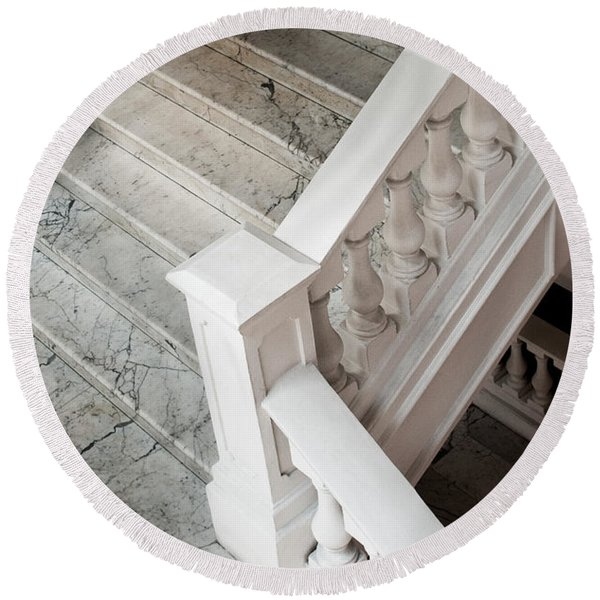 Raffle's Hotel Marble Staircase Round Beach Towel