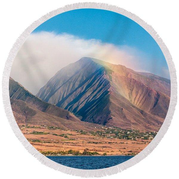 Rainbow Over Maui Mountains   Round Beach Towel