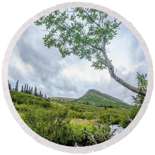 Round Beach Towel featuring the photograph Rainy Evening On A Mountain Stream by Tim Newton