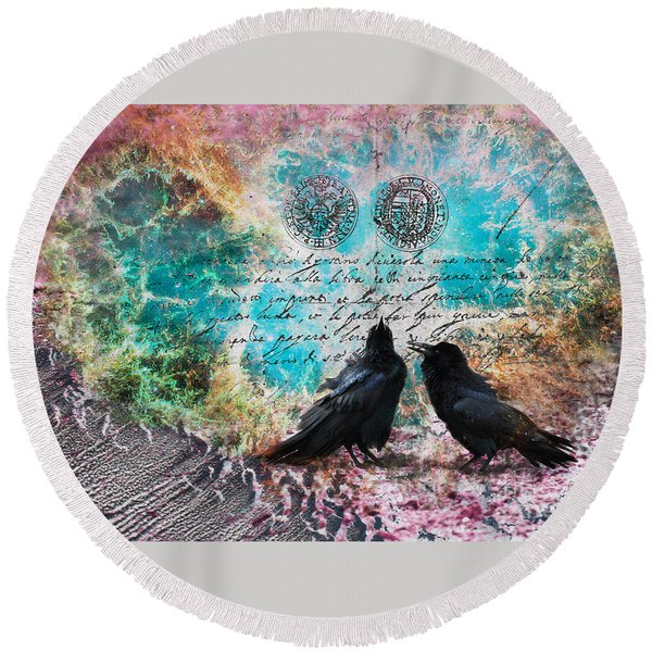 Crow Whispers In The Nowhere Round Beach Towel