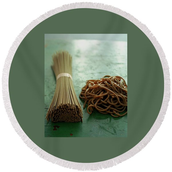 Raw And Cooked Pasta Round Beach Towel